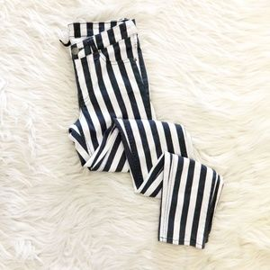 Divided H&M Black & White Striped Skinny Jeans